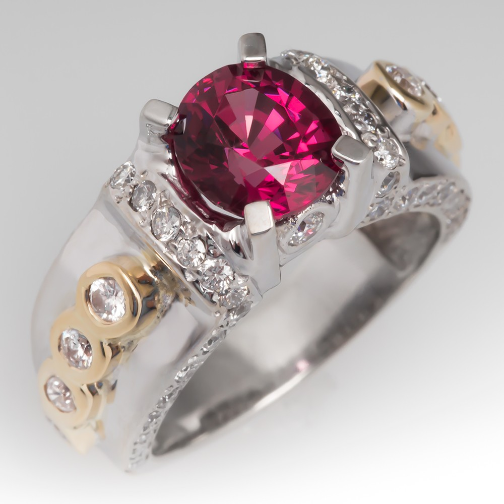 1.8 Carat Purple Red Spinel & Diamond Fancy Wide Band Ring