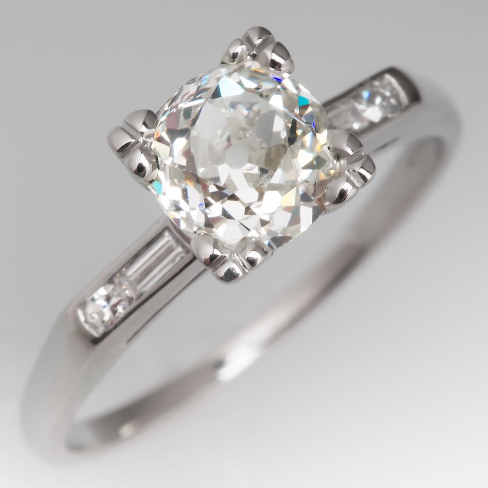 Heirloom 1 Carat Old Miner Diamond Vintage Engagement Ring