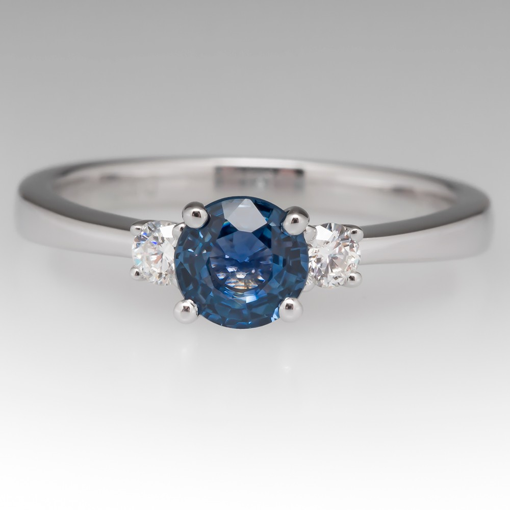 Three Stone Montana Sapphire & Diamond Ring - To Benefit Dance for a Cure - Fire And Ice