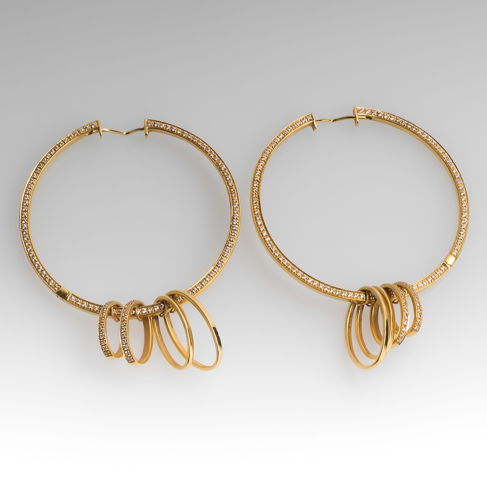 DI MODOLO Tempia Hoop Earrings 1.016CTW 18K Gold