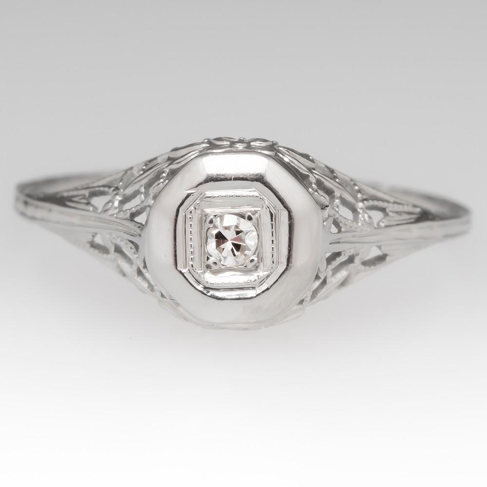 Floral Filigree Petite Vintage Diamond Ring 18K White Gold 1940's
