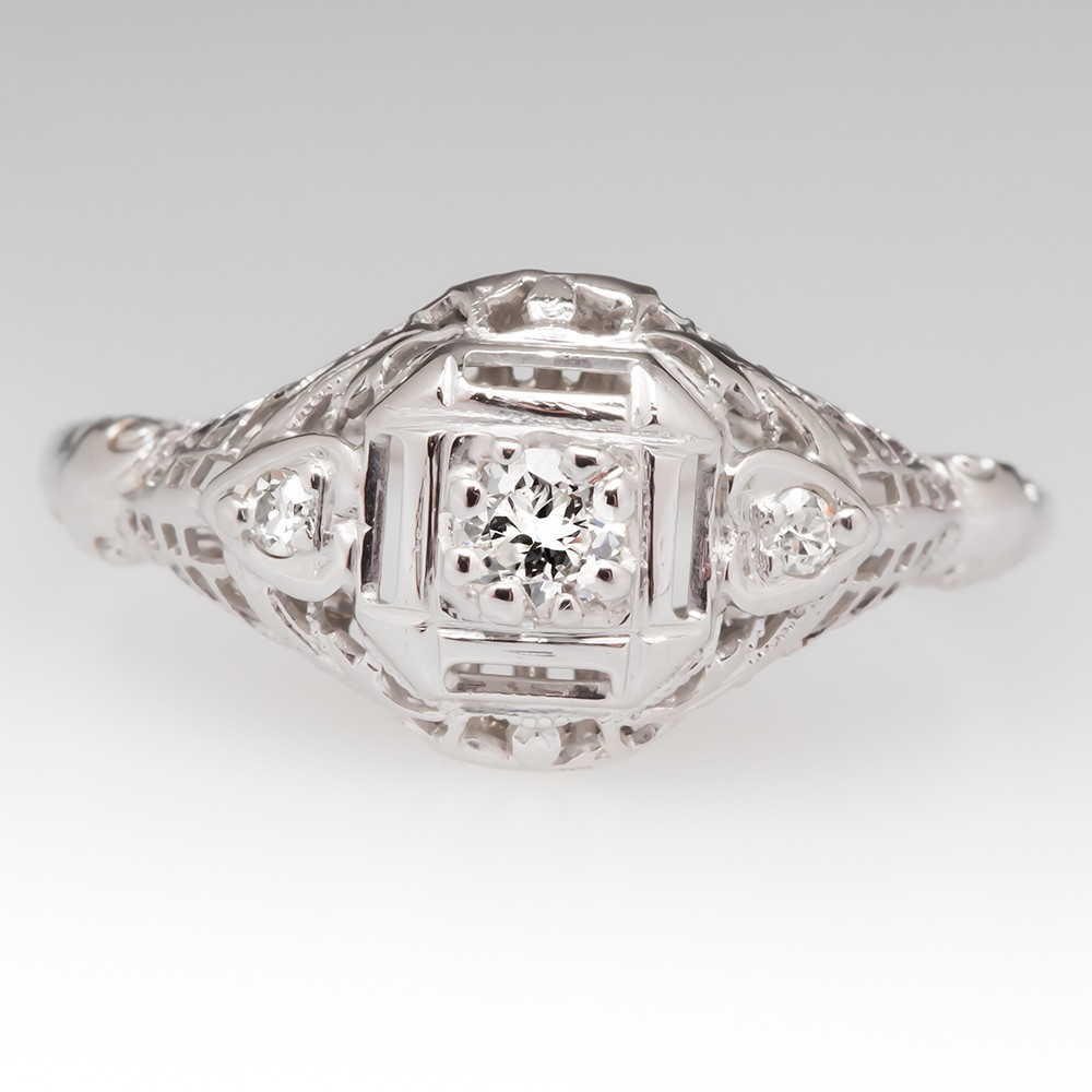 Beautiful Filigree Engagement Ring 1940's Vintage Transitional Cut Diamond