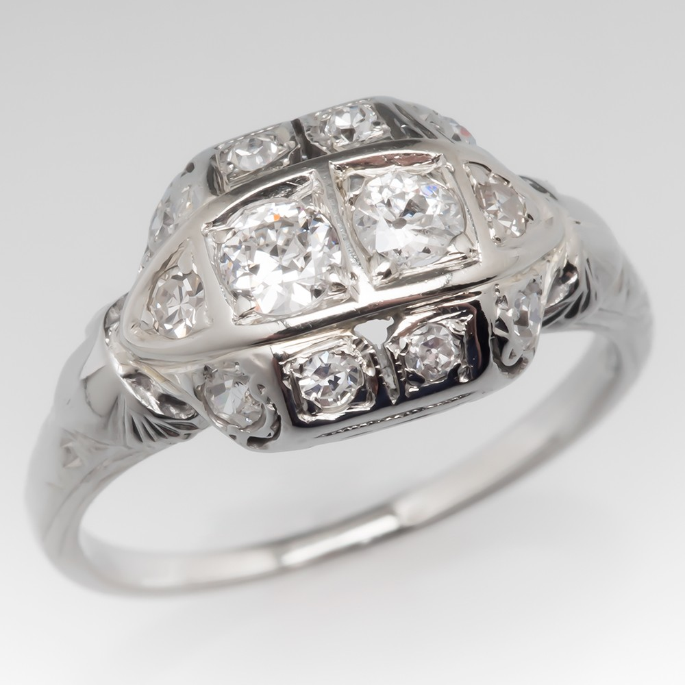 Old Diamond Ring Filigree & Milgrain Details 18K White Gold
