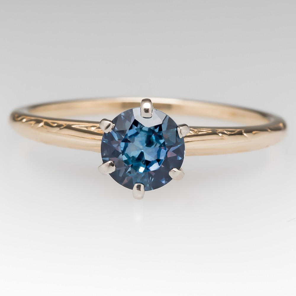 Icy Green Blue Montana Sapphire 14K Yellow Gold Solitaire Ring 6-Prong