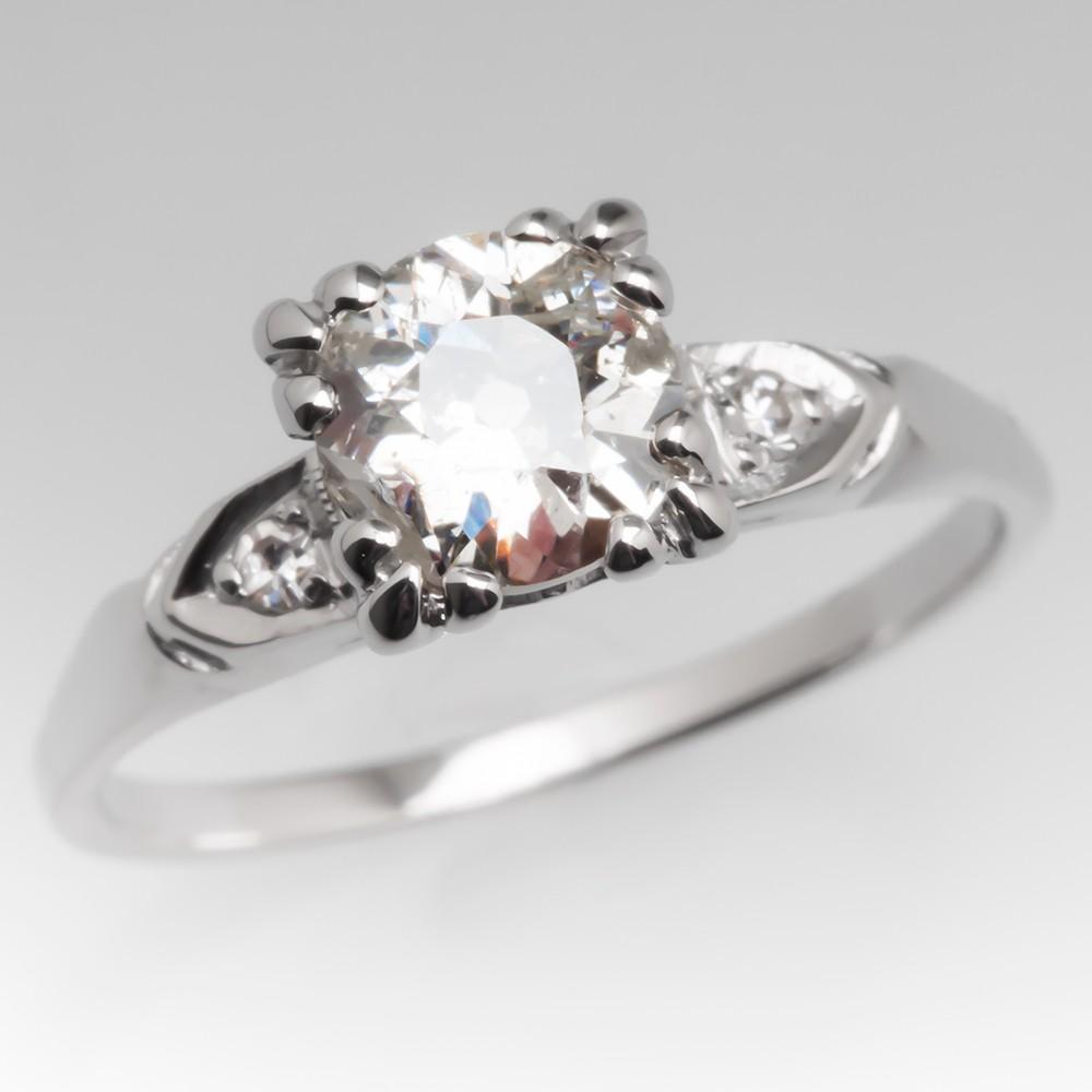 1920's Old Euro Diamond Antique Platinum Engagement Ring