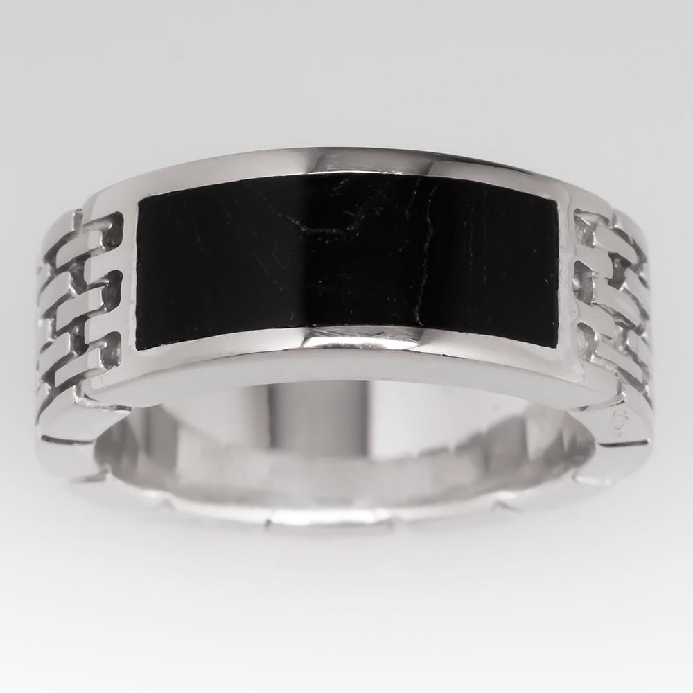 Bernard K Passman Black Coral Link Ring Mens 18K