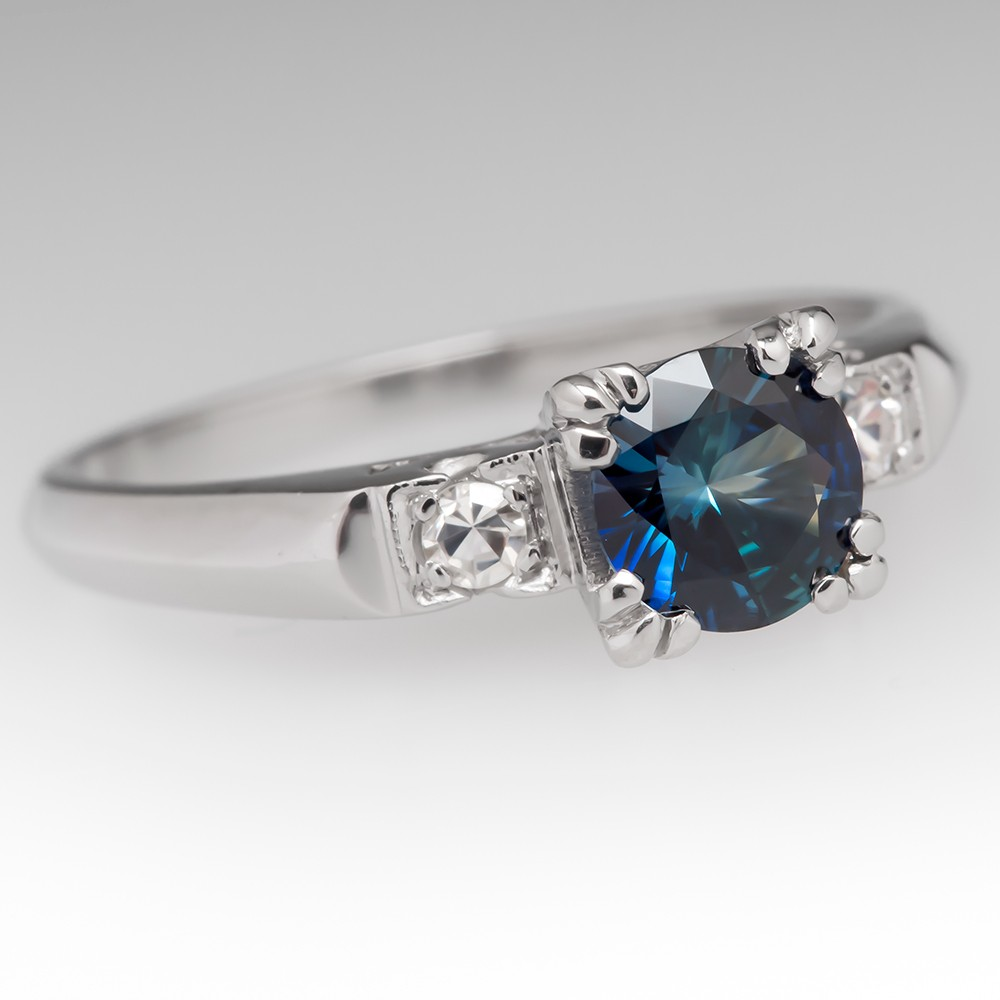 Rich Blue Sapphire & Diamond Platinum Engagement Ring 1950's Mounting