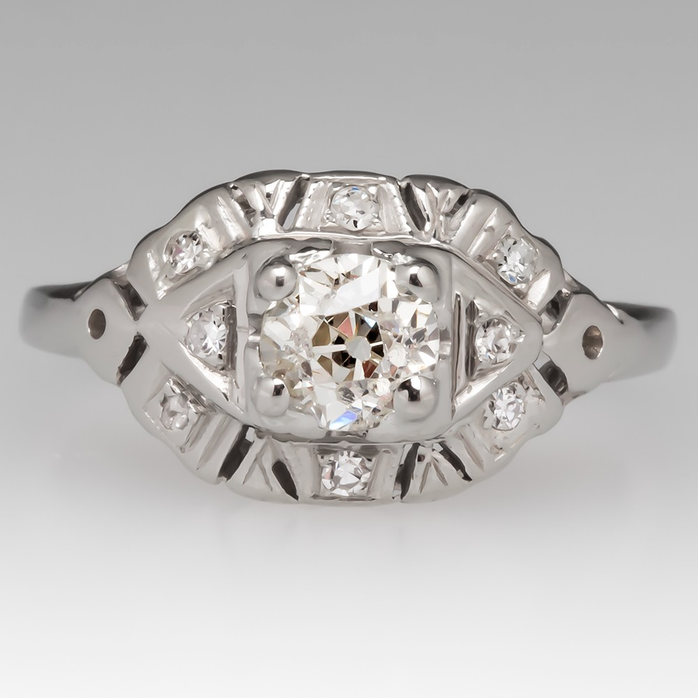 18K White Gold Engagement Ring 1930's Old Euro Diamond