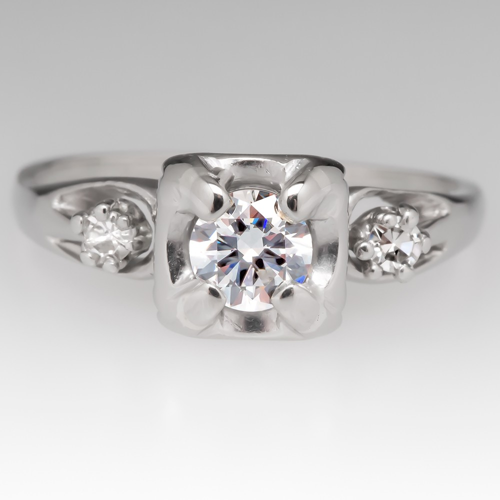 Retro 1950's Round Brilliant .28 Carat Diamond Engagement Ring