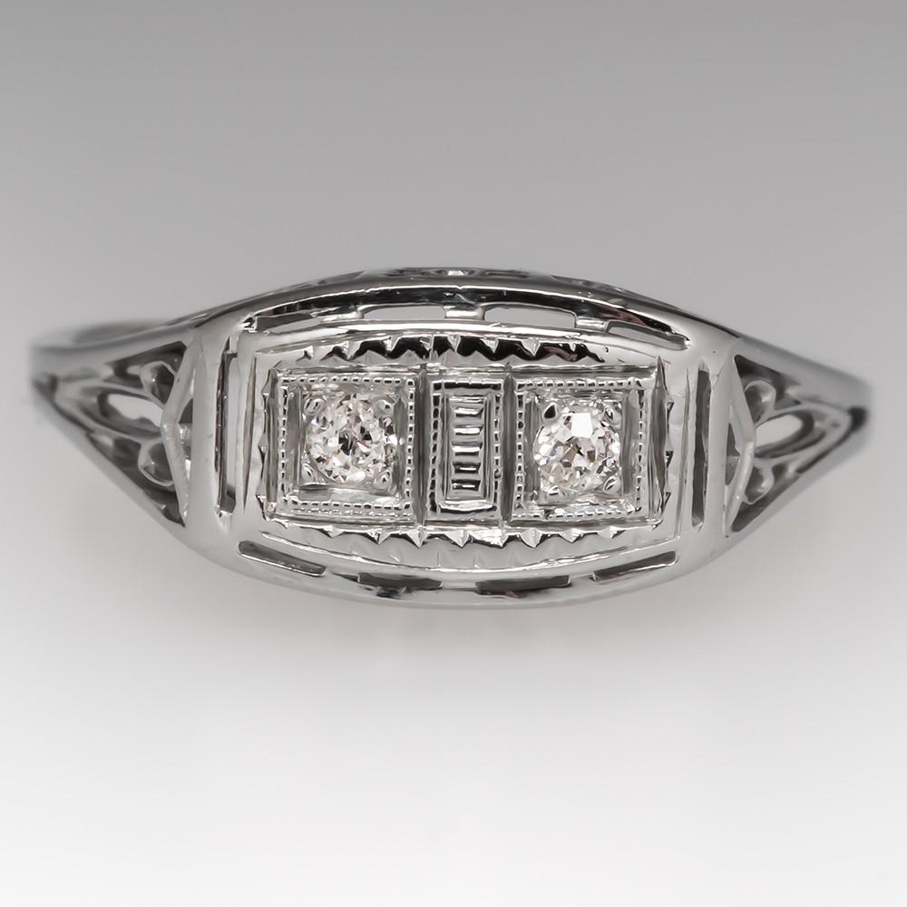 Antique Twin Diamond Engagement Ring 18K White Gold Filigree