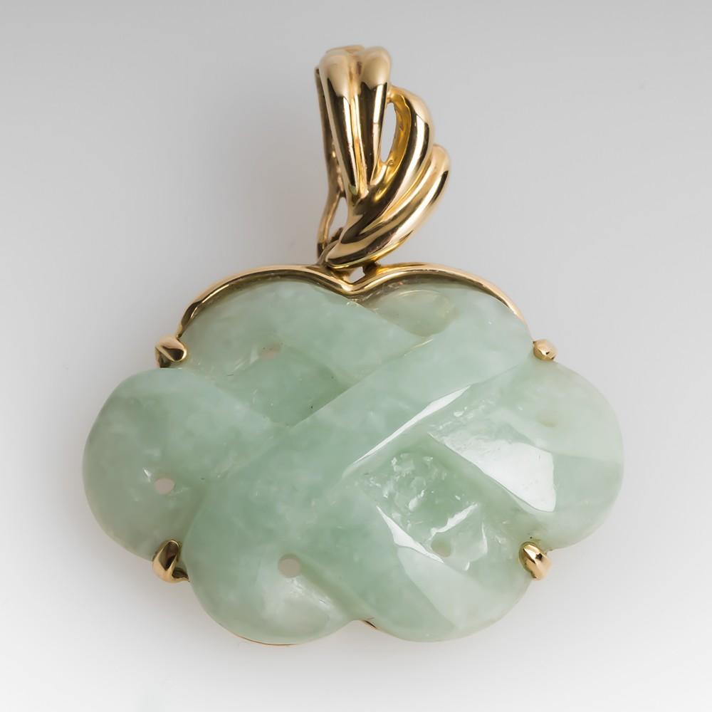 Jadeite Jade Knot Pendant Solid 14K Gold