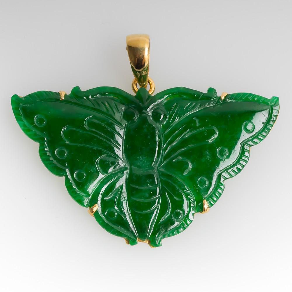 Vivid Green Treated Jadeite Pendant 18K Yellow Gold