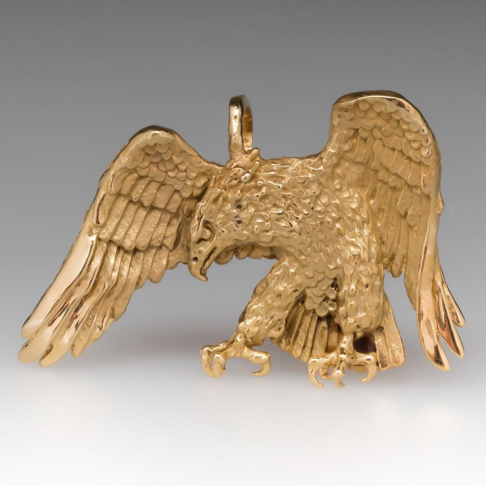 Vintage Mens Bicentennial Eagle Pendant Solid 14K Gold