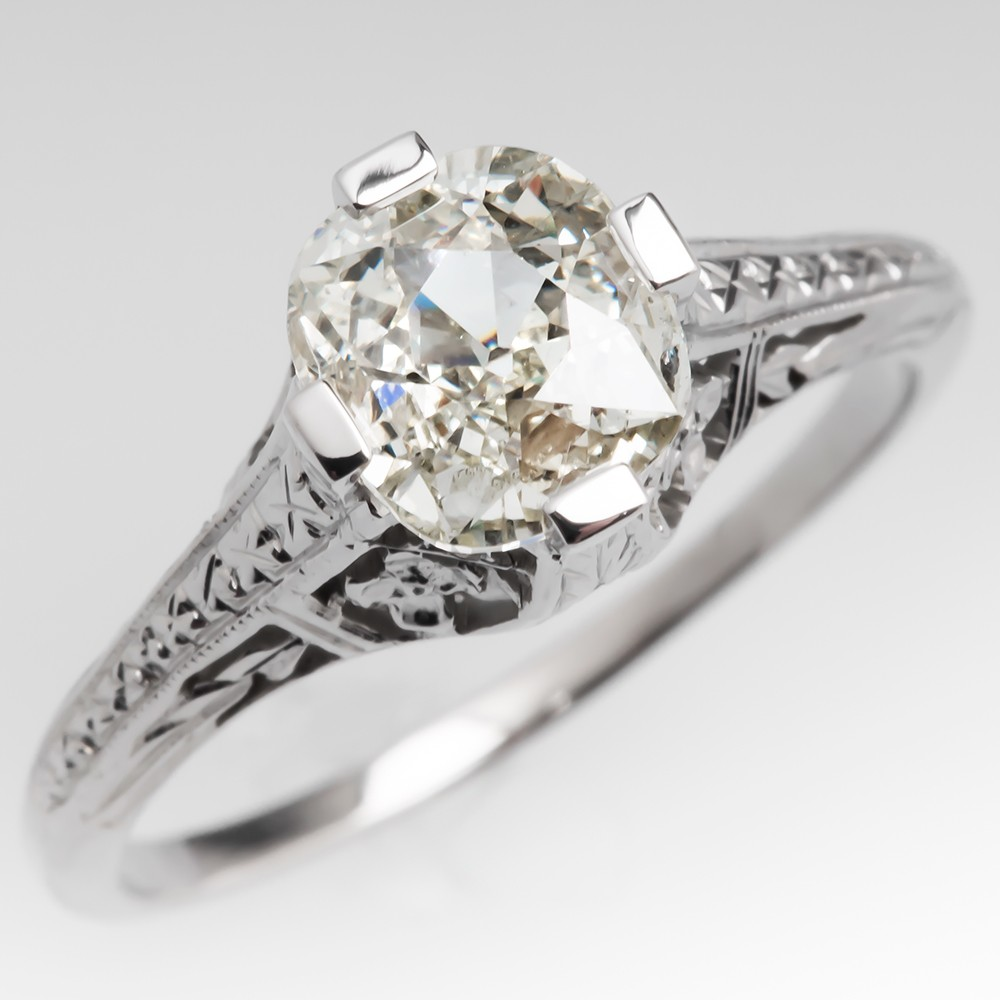 Old Miner Diamond Engagement Ring Solitaire Engraved Filigree