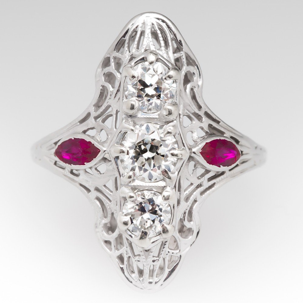 Art Deco North to South Dinner Ring Old Euro Cut Diamonds & Ruby