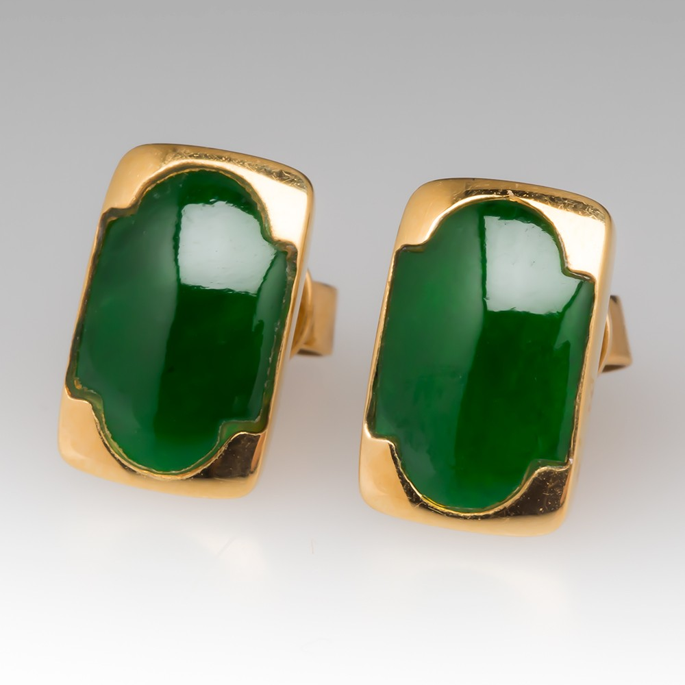 Vintage Jadeite Jade Huggie Earrings 18K Yellow Gold