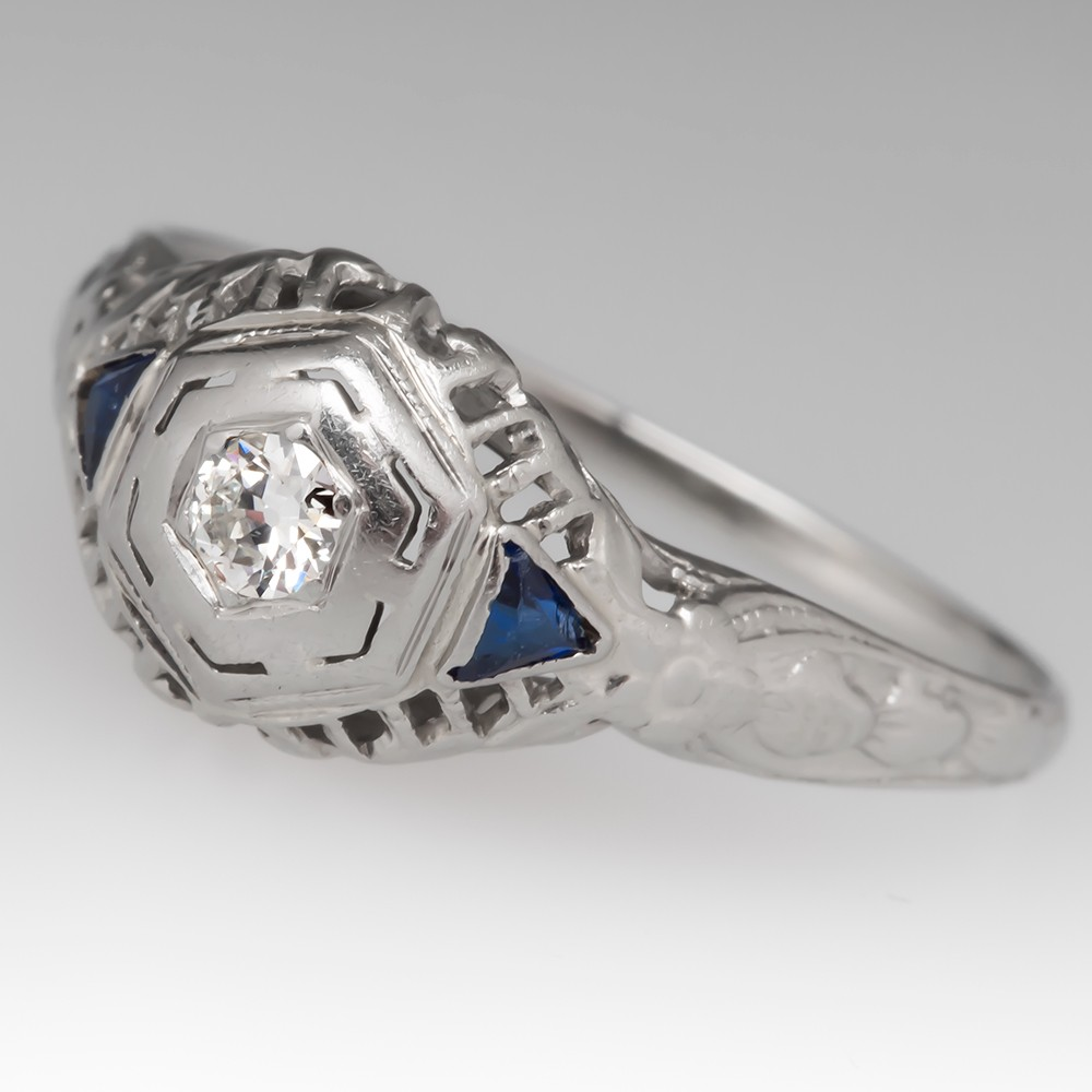 1940's Diamond Filigree 18K White Gold Engagement Ring