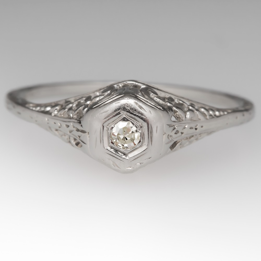 1930's Petite Engagement Ring Single Cut Diamond Filigree 18K
