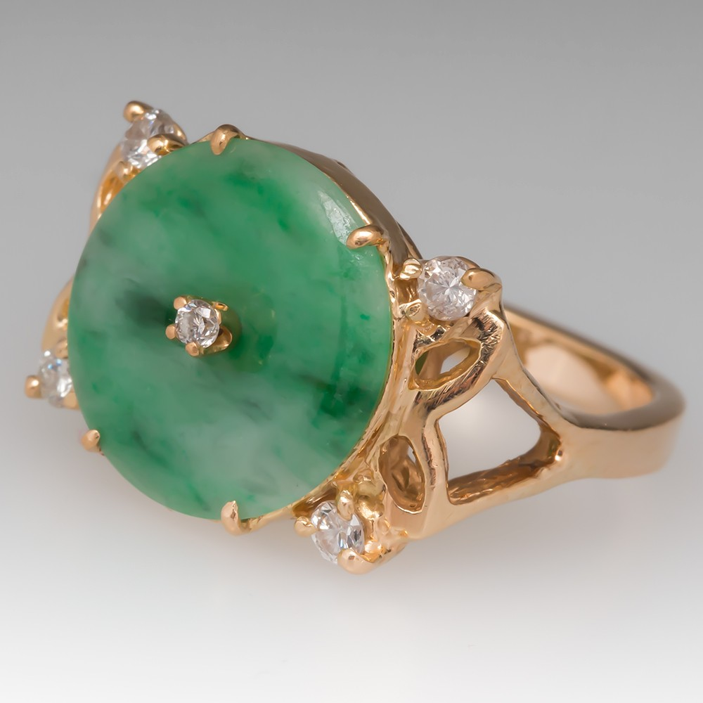Estate Jade Disc Ring Lightweight 18K Yellow Gold
