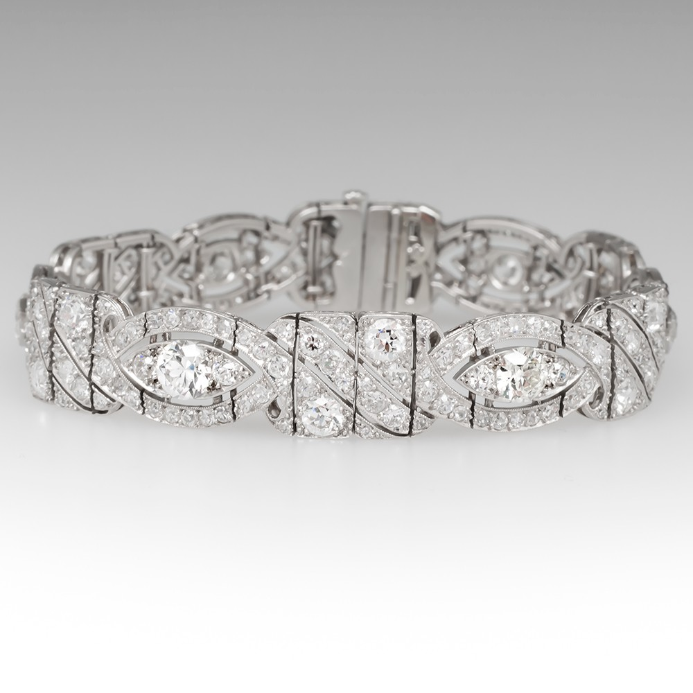 12 Carat Diamond Encrusted Platinum Art Deco Bracelet