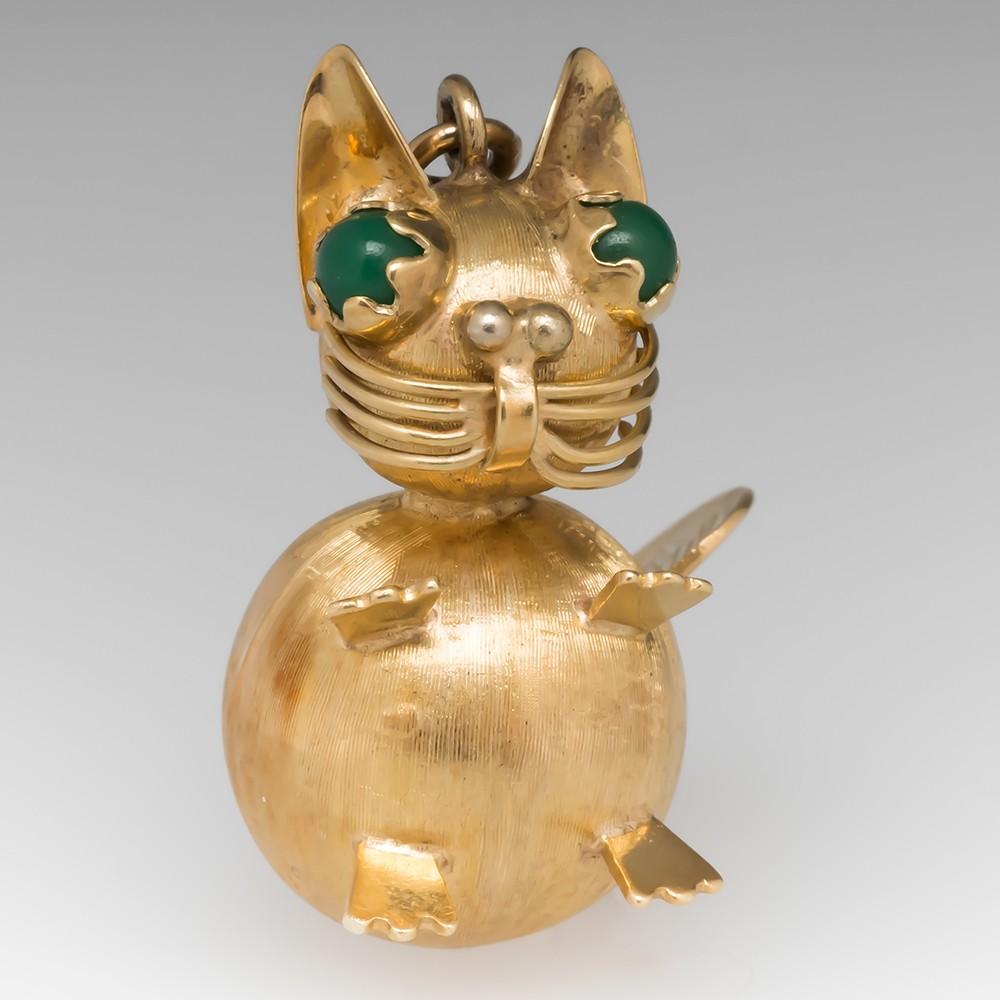 Vintage Italian Cat Bracelet Charm Pendant 14K Yellow Gold