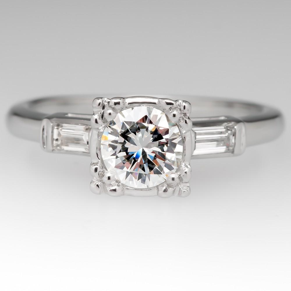Vintage Diamond Engagement Ring w/ Straight Baguettes