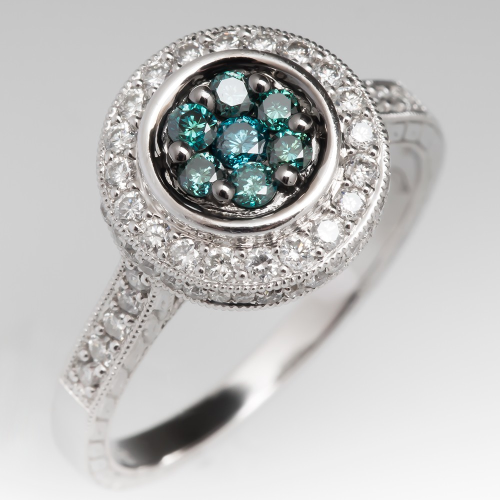 Blue and White Diamond Halo Ring 14K White Gold