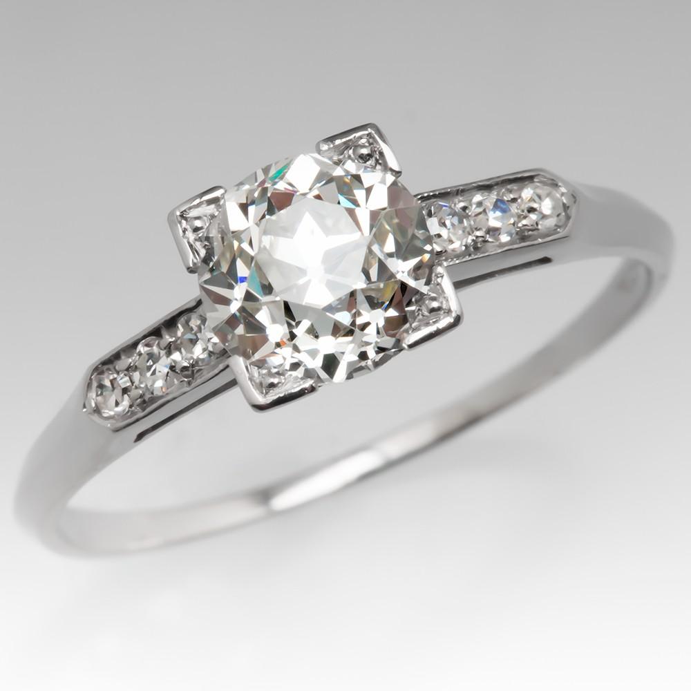 Perfect Art Deco Engagement Ring 1.2 Carat Old Euro Diamond 1920's