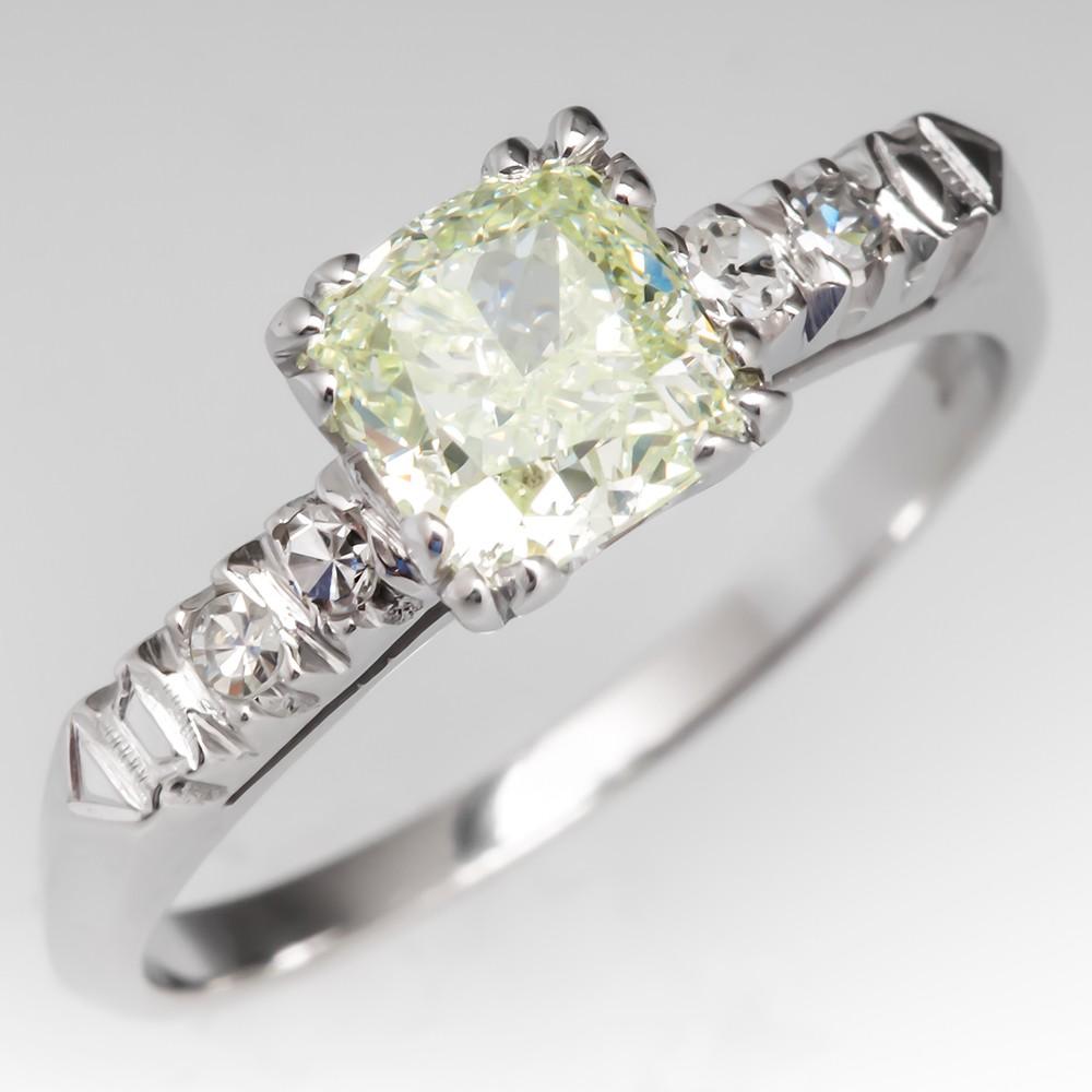 GIA Fancy Light Yellow Green Diamond Vintage Engagement Ring