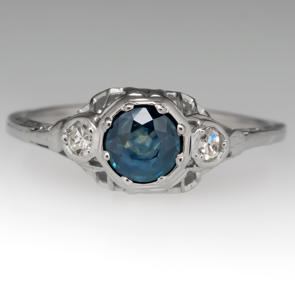 Lovely Montana Sapphire Ring with 1940's White Gold Filigree Mount