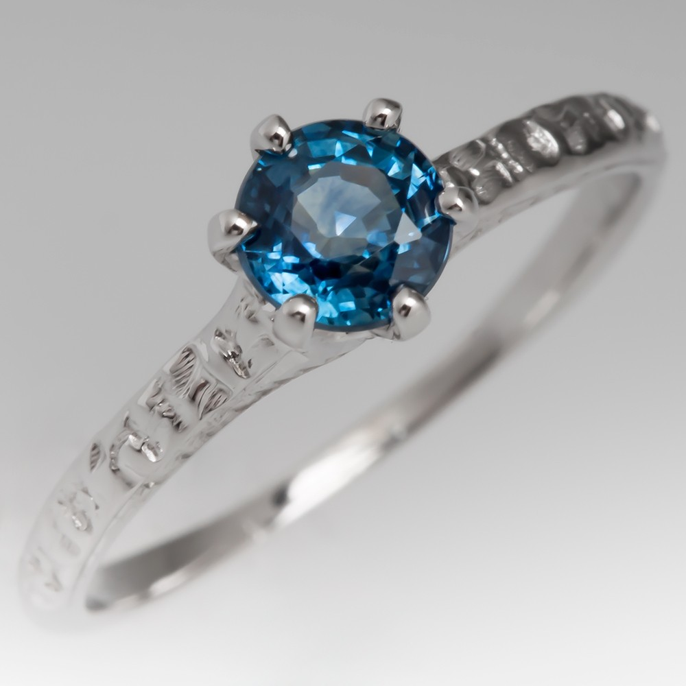Montana Sapphire Solitaire Engagement Ring Engraved 1940's Mount