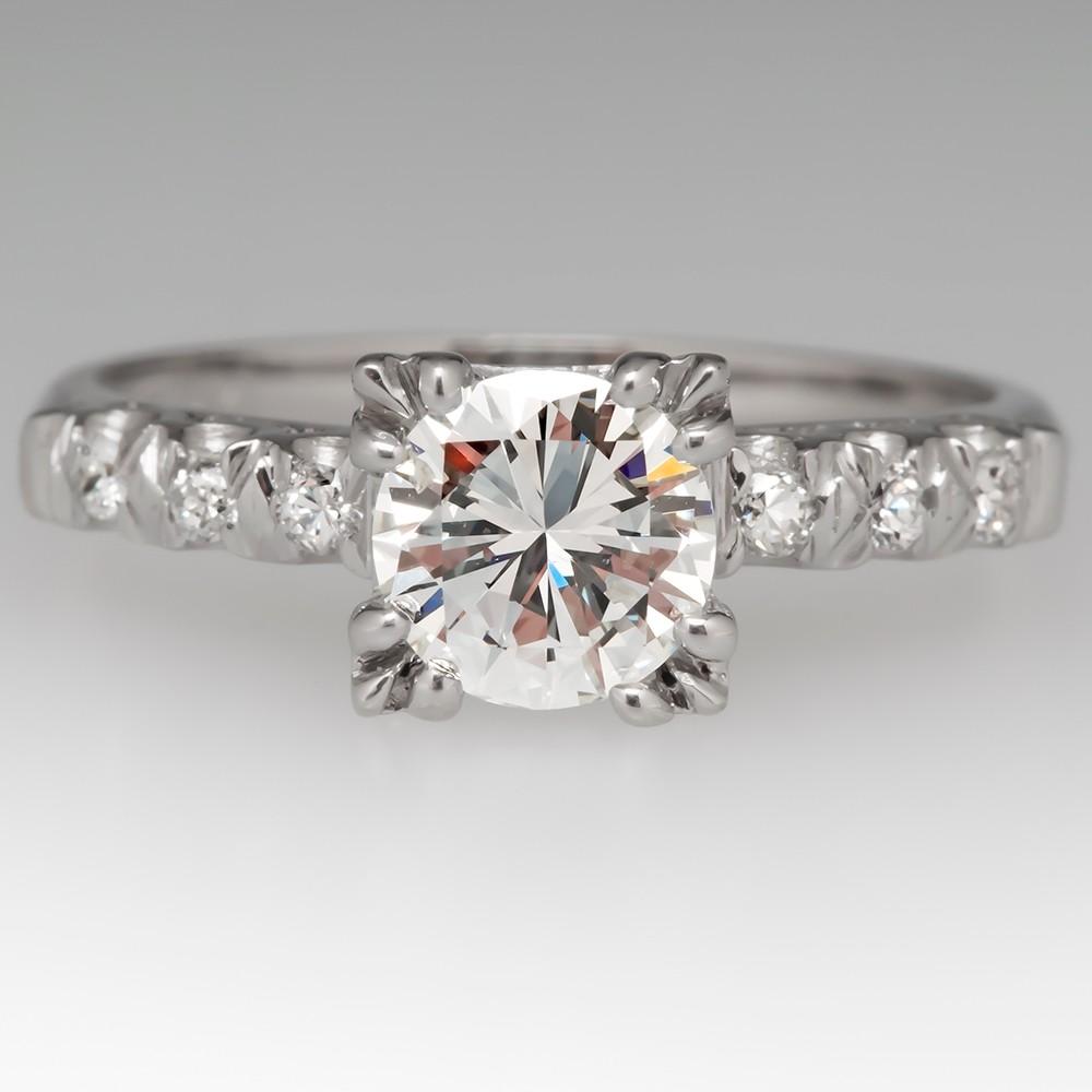 3/4 Carat Diamond Vintage Platinum Engagement Ring