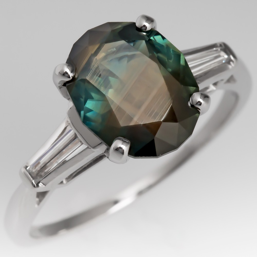No Heat Blue Green Sapphire Ring Platinum w/ Baguette Diamonds
