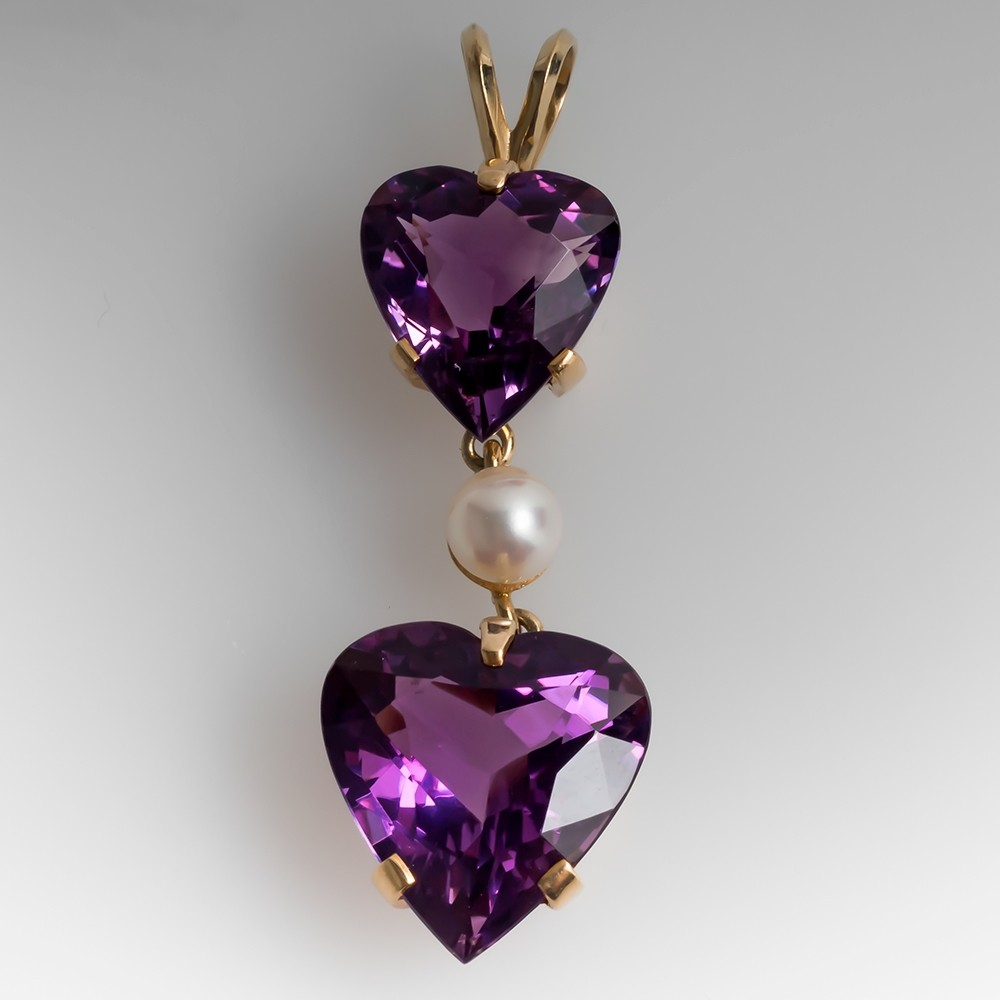 Double Heart Amethyst & Pearl Dangle Pendant 14K Gold