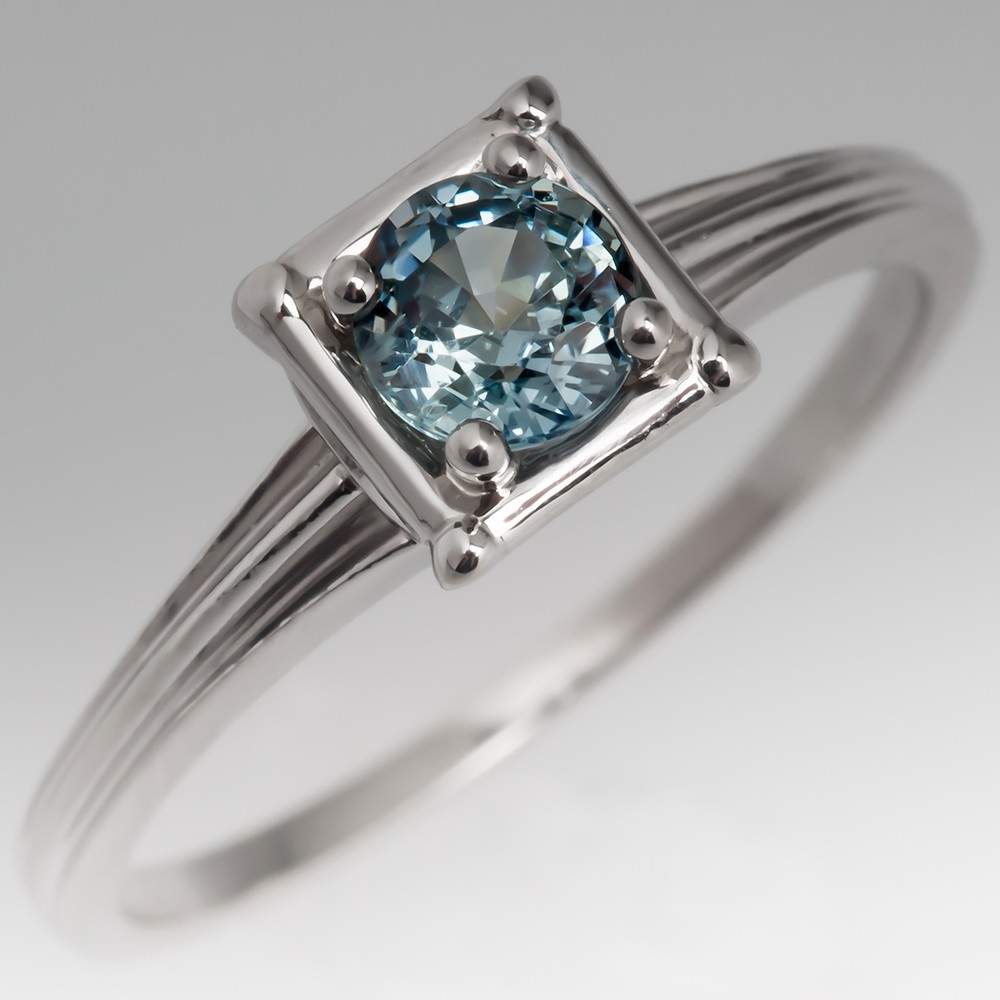 Montana Sapphire Solitaire Engagement Ring Vintage Jabel Platinum Mount