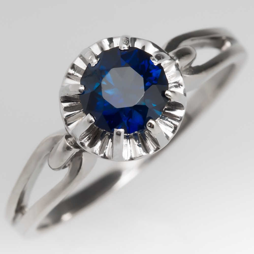 Deep Rich Blue Green Sapphire Buttercup Engagement Ring 18K