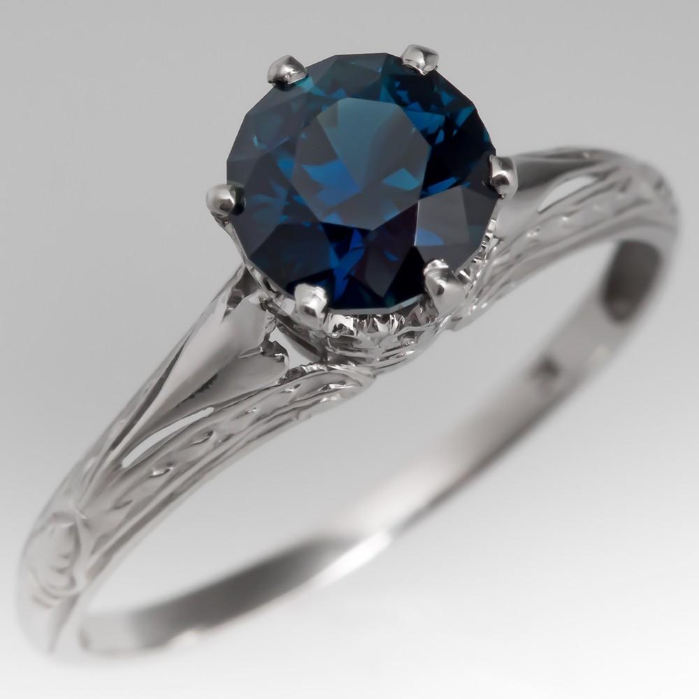 Deep Blue Green Sapphire Filigree Engagement Ring 1930's Platinum Mounting