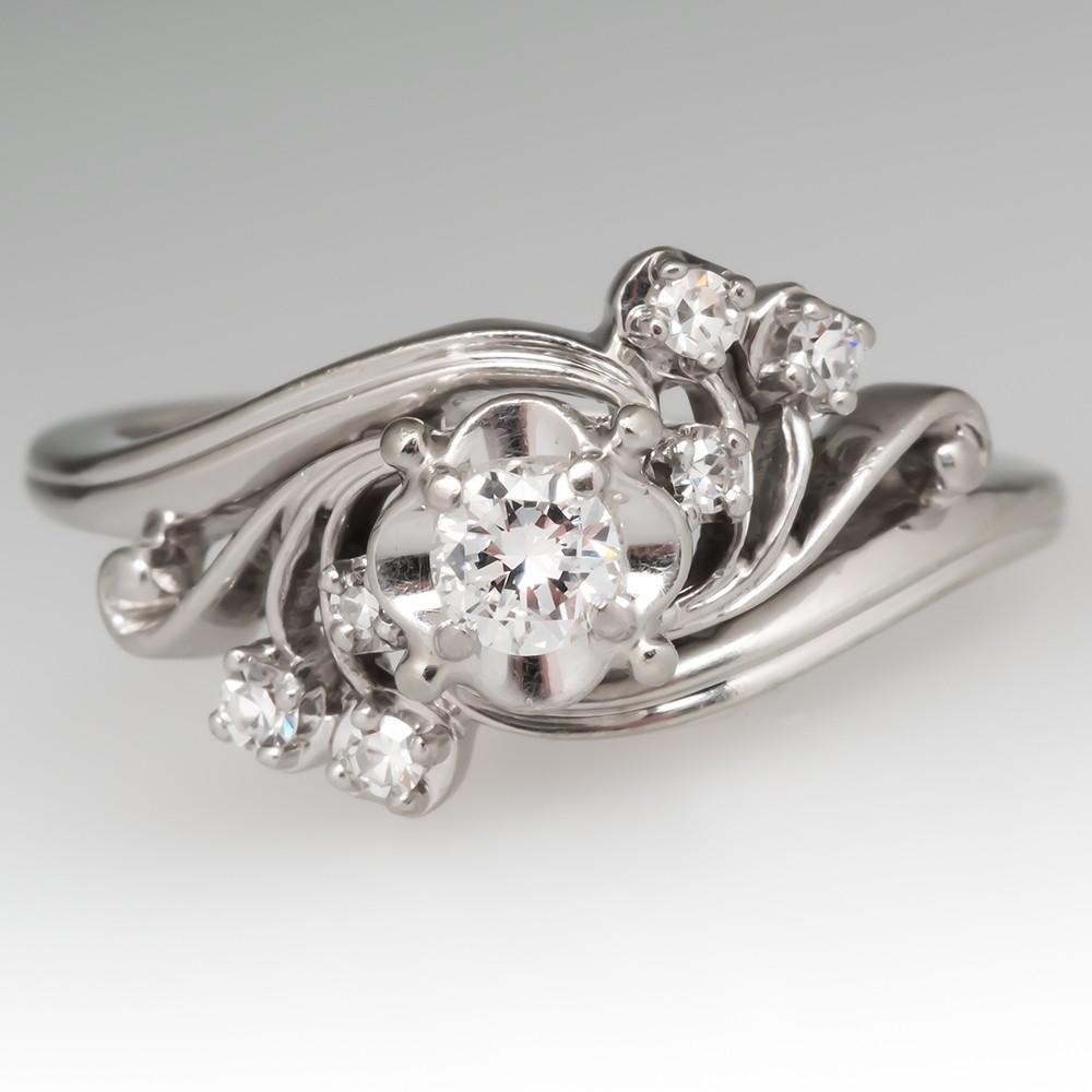 Signed Jabel Vintage 1950's Floral Engagement Ring 18K