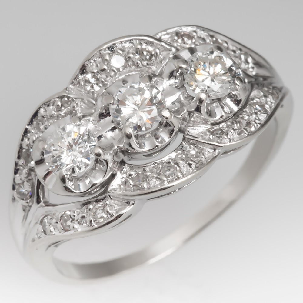 Three Stone Retro Vintage Diamond Ring 14K White Gold