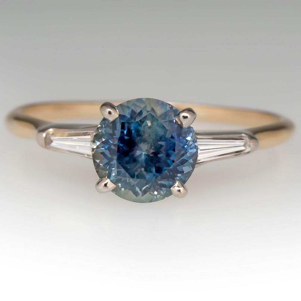 1.5 Carat Montana Sapphire & Diamond Engagement Ring 1970's Mount