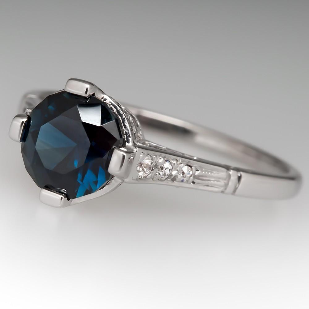 Deep Rich Blue Green Sapphire Engagement Ring 1950's Mount
