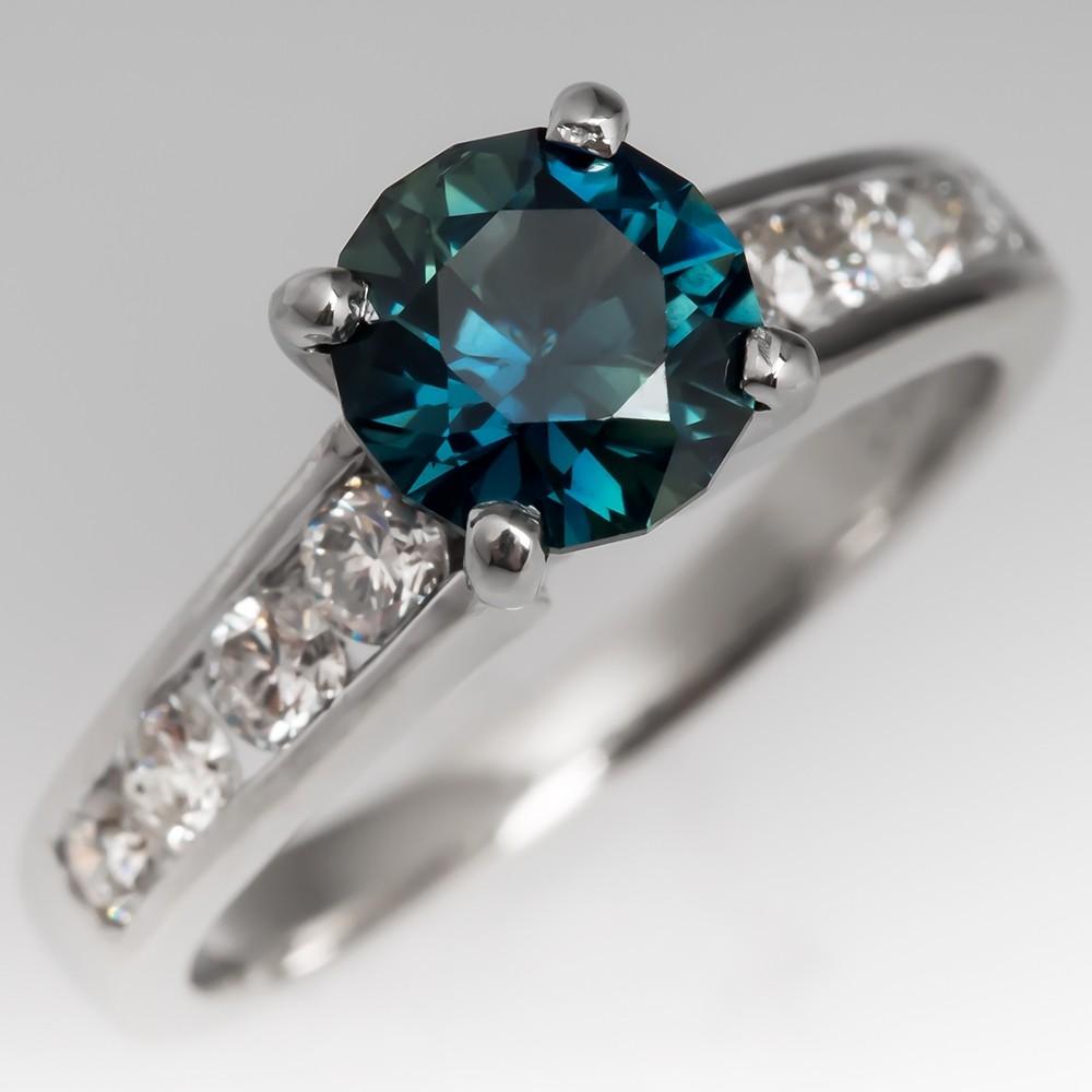 Dark Blue Green Sapphire & Diamond Engagement Ring 18K