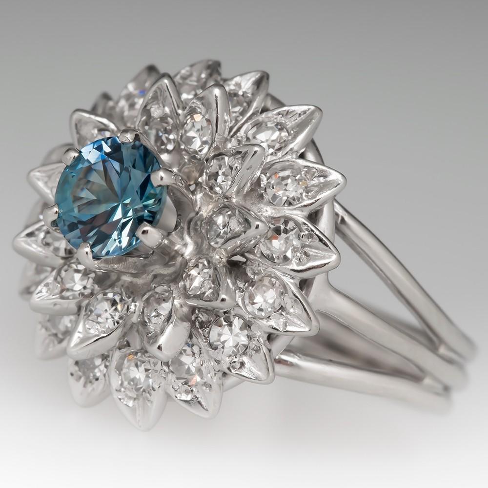 Montana Sapphire Starburst Diamond Ring 14K White Gold