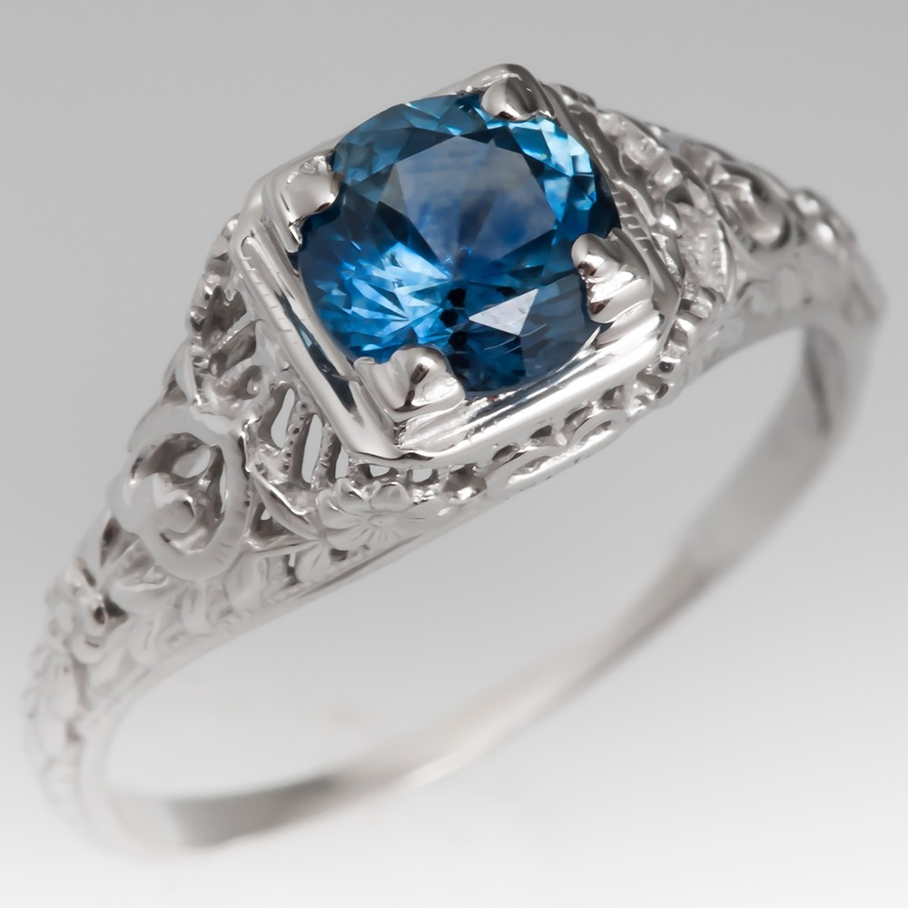 Montana Sapphire Filigree Engagement Ring Vintage Mounting