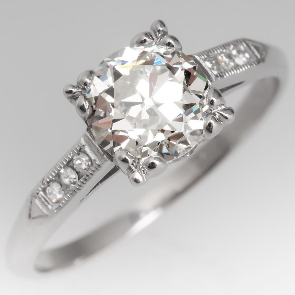 1930's Art Deco Engagement Ring 1 Carat Old Euro Diamond Platinum
