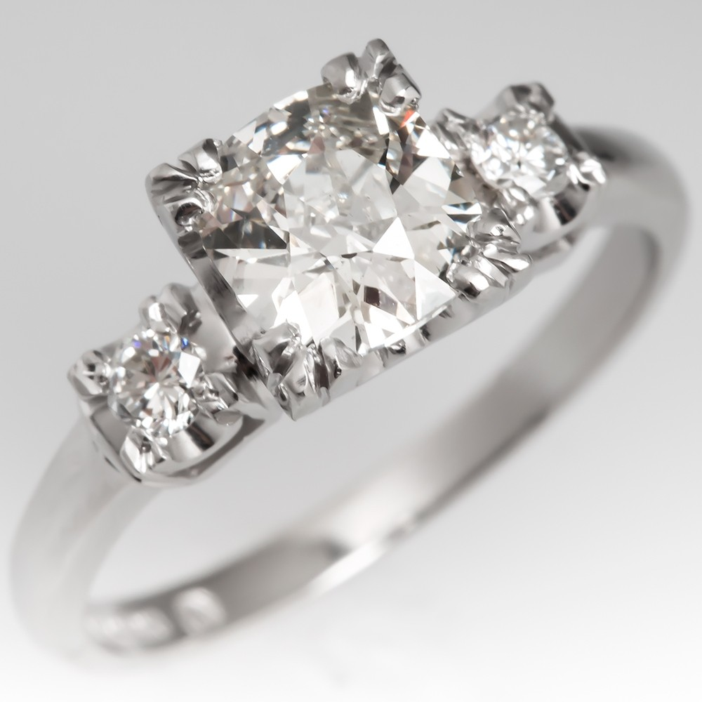 Old Mine Cut Heirloom Diamond Engagement Ring Platinum