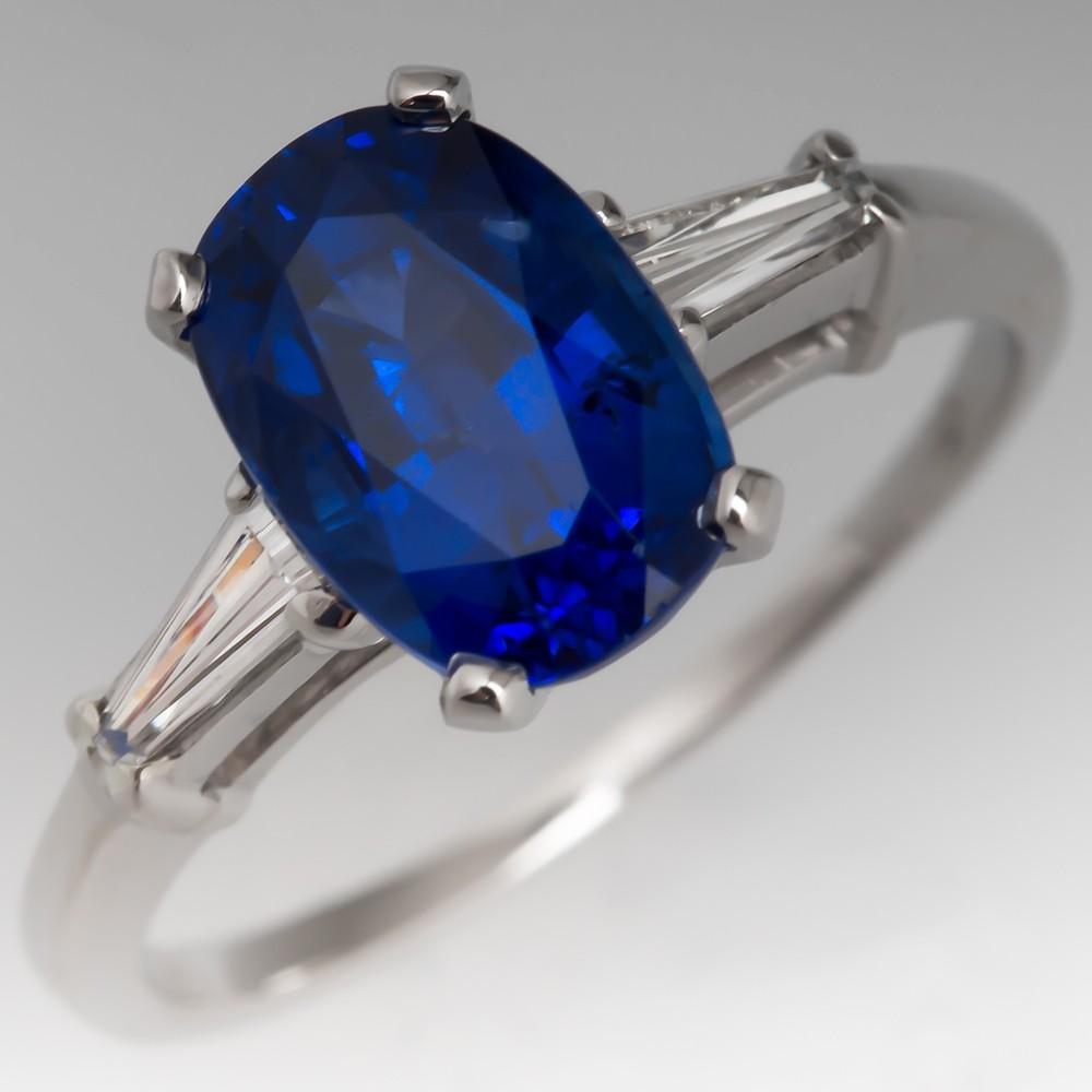 Stunning Blue Sapphire Engagement Ring Platinum w/Tapered Baguette Diamonds