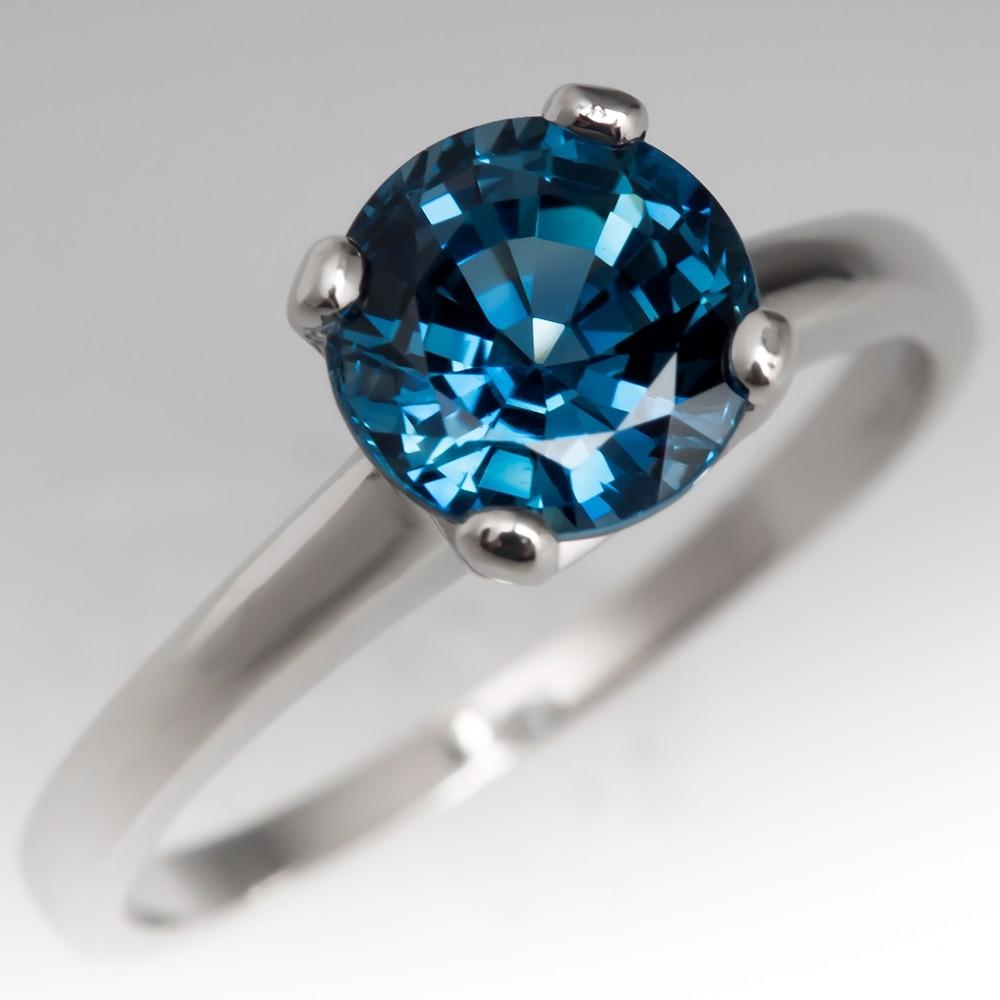 1.8 Carat Vibrant Blue Sapphire Solitaire Platinum Engagement Ring