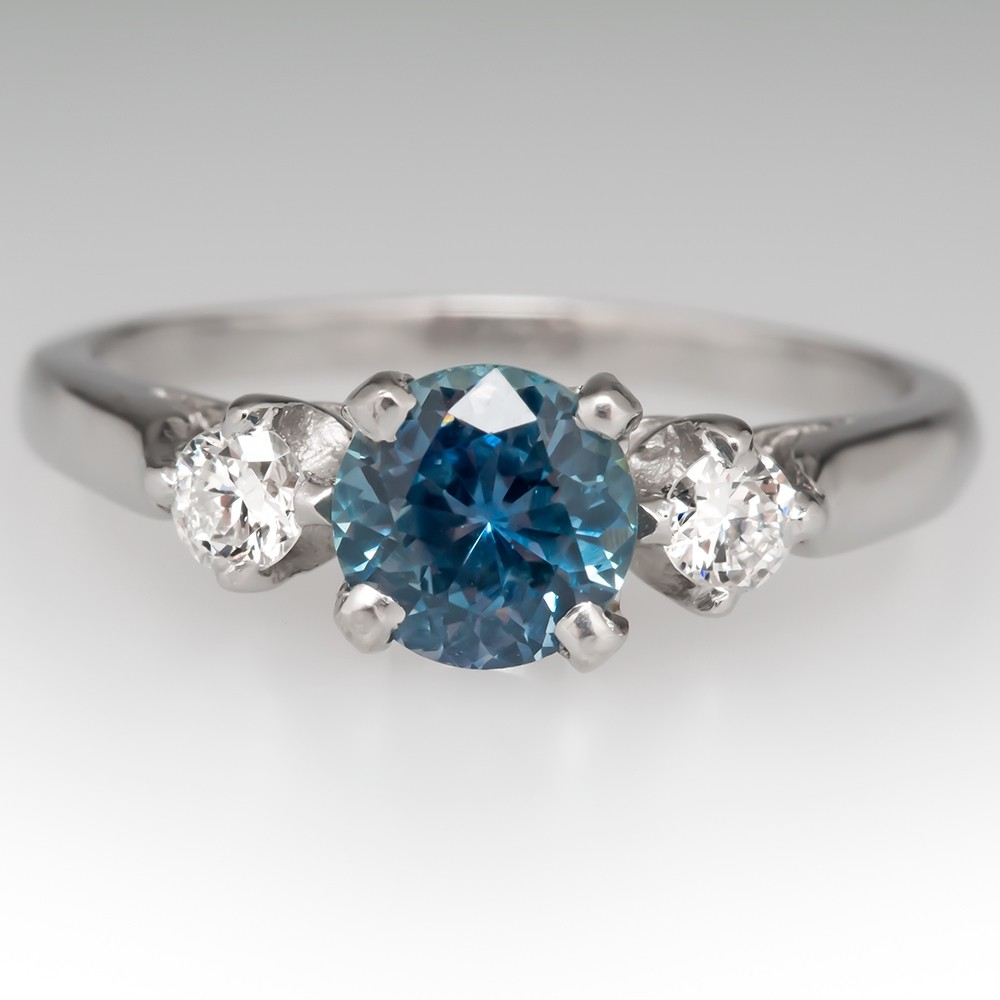 Light Blue Green Montana Sapphire Three Stone Engagement Ring