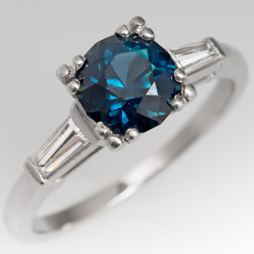 Beautiful Blue Green Sapphire Engagement Ring w/ Tapered Baguette Diamonds